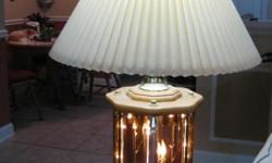 """EXCELLENT CONDITION - MUST SEE! 2 (TWO) 34"""" TALL SOLID OAK, GLASS & BRASS TABLE LAMPS VERY HEAVY MADE AND BOUGHT AT """"ANNIE OAKLEY'S"""" Annie Oakley's has provided quality wood furniture to the greater Jacksonville area since 1987."""
