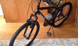 These Roadmaster mountain bikes are a matching pair. Black, both with seat cushions. Includes one black and silver helmut and a bike lock (chain style). Perfectly good bikes, but need to sell as moving countries.  *Please note - Children's seat sold