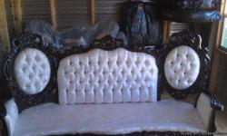 This three piecemahoganytrimmed set which includes chair, couch, and love seat (which is not in pic) is in excellent condition.The set was purchased at The Home Stead House.This set, along with the pillows has been kept wrapped in