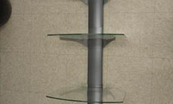 Omnimount tria wall mount shelf system. Gray with clear glass. Excellent condition