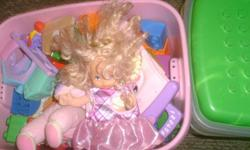 3 totes of great toys. vtech learning toys babie dolls mega blocks linclon logs just want out of the house to clear space