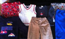 (3) Boys sweatshirts, (1) Sweatpants, (1)Vest, (1) Sweater, (1) Tan Corduroy pant. All clothing in great condition. Mom of triplets and had 2 boys. $2.00 for everything...