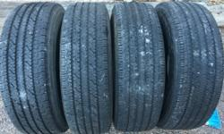 Tires are in great shape off my son's Ford truck, his truck is 2 wheel drive and he had to get new tires with a more aggressive tread. So nothing wrong I would estimate at least 60% or more tread left. Your welcome to come check them out. Mike