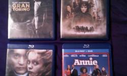 All four movies are new and have not been used. Lord of the Rings - The Fellowship of the Ring / Gran Torino / Sleepy Hollow - $7.00 each    Annie - $15.00