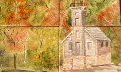 Grand Island East Channel Lighthouse near Munising, Michigan. China painted. Fired in a kiln then other layers added until finished. Food safe. My tiles have been used for counter top or back splash. Caution: Just as with all ceramic tiles, they can be