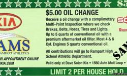 Fund-raise for the Rampart High H.S. Athletic Dept., Donate $5.00 for a complete, (up to 5 quarts and filter for mot 4 and 6 cyl. vehicles), Oil / Filter Change. Dave Solon Kia is sponsoring this, (with proceeds going to the Rampart High School Athletics