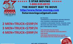 5 STAR MOVING COMPANYone of the most professional moving companies in city of Los Angeles. The toppriority of our professional moving services : - safely transfer all of your belongings; - provide you with a stress-free move from