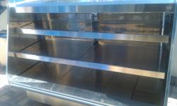 """Barker Co - Stainless Steel - Two Tier Self Serve Heated Display Case - Hot Food Merchandiser - Grab & Go Asking: $900 OBO BARKER CO - GRAB AND GO Two Tier Hot Food Display Warmer (Serial # 16800PF6H) - Stainless Steel - 120 /208 Volts 3 Phase - 74"""" Long"""