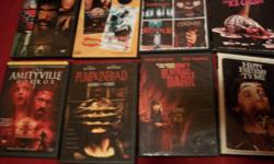 8 dvdhorror movies for sale for $3.00 each all in excellent condition and in original plastic case holders. Movies include:Pumpkinhead:Ashes To Ashes, Nightmare At Bitter Creek, Don't Be Afraid Of The Dark (2011 Version), Amityville Horror (2005