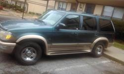 Green Ford Explorer year 1997 4 door clean and reliable.Ready to ride if you are looking at this ad call and say you find the ad on Classified ad.I will deduct $100 dollars off if you purchase the vehicle.