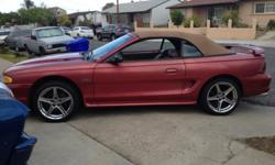 """4.6L V8 Mustang GT Convertible, in excellent condition, clean title, no body dents or damages, leather interior, 17"""" chrome wheels, 5 speed manual transmission, magna flow full exhaust system, BBK headers, eibach lowering springs, MSD ignition, AEM cold"""