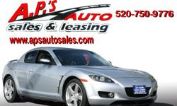 CLICK HERE FOR MORE IMAGES AND INFO (520) 750-9776 A.P'S Auto Sales 3747 E. Speedway Blvd. Tucson, AZ 85716 2005 Mazda RX-8 Manual 4-Door Coupe Transmission: 6 Speed Manual Fuel: Gasoline VIN: JM1FE173450158107 Interior Color: Black Engine: R2 1.3L