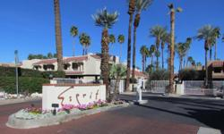 Beautiful poolside condo in the gated Esprit community. Turn-key furnished. Ground floor, one-story condo with no one above you! Vaulted ceiling in living room and a south-facing patio. Esprit has all the best Palm Springs has to offer.