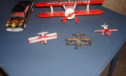 """Budweiser Bi-wing limited edition airplane, metaL, red & white, Great condition, appx 11""""wingspan, Length 8"""", Stearman Squadron Red Baron Bi-wing airplane, metal 1:71 scale white with red, 1932 Replica Hallmark Low Wing small airplane, 3 1/2"""" x 2"""