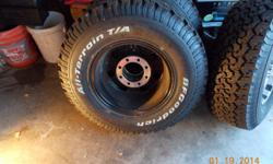 hello craigslist, i have for sale a full set of bfgoodrich all terrain tires and a full set of rims. the tires are size 235-75-16 and are mounted on 8 lug rims they came off of a three quarter ton chevy truck. The tread depth is 13/32 less than one