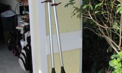 ALUMINUM PADDLES IN GOOD CONDITION. USE FOR SMALL ALUMINUM BOATS ETC.