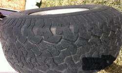 Custom Aluminum wheels with BFGoodrich TA KO tires Size 33 X12.50 R15 30- 40 % Tread life Wheels are 5 lug pattern off of 1997 Dodge Ram 1500