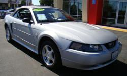 The Ford Mustang has been an eye-catcher and a symbol of the power of American cars for decades, and we have a 40th Anniversary shiny silver Mustang convertible right here for you with low miles and a low price tag! Complete with power windows, power