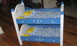 """These beds are hand made of 3/4"""" pine, very well built. They come painted to match the bedding set, which includes a mattress pad, coverlet, and pillow. Call today to come see them, little girls and big girls love them. Grandma's love them to have for"""
