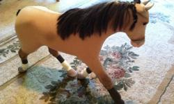 Great condition and ready to be played with again! Can't remember the name of the horse unfortunately since it was a gift for my daughter several years ago. She barely played with it and has mostly been stored or sitting on shelf.