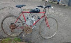 Old AMF/Roadmaster 50cc bike 35 mph 100 mpg new engine kit just broke in call mike 502 643-1943