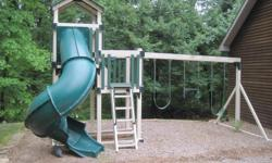 Amish Built Vinyl Clad Swingsets about 5 years old includes: ? Covered Tower ?5' & 7' High Decks ?Poly Roof ?Turbo Tube Slide ?3 Position Single Swing Beam ?2 Belt Swings ?Trapeze Bar ?Entrance Ladder roughly 15x20 no cracks or rust...needs to be