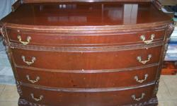 4 drawer antique dresser w mirror good cond minor scatches as seen not polished yet