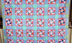 Wonderful Cross patchwork quilt, fabric dates 1930s, beautiful piece has to be seen to get the true appearance, untouched never used shows no sign of wear, machine quilted, handmade. Enhanced with a mix of vibrant shades turkey red, cornflower blue, pink,