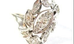 DATA SHEET Age: 1st half of 20th century Metal: White gold Purity: 13.2 kt - (550/1000) Ring size: US 4 & 1/4 Inside