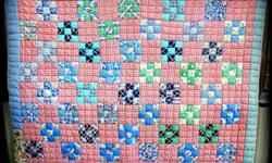 Wonderful Nine Patch patchwork quilt, fabric dates 1930s, beautiful piece has to be seen to get the true appearance, untouched never used shows no sign of wear, hand quilted, handmade. Enhanced with a mix of vibrant shades turkey red, cornflower blue,
