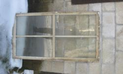 Old antique Windows. 8 in all. Glass is all intact and wood is all solid not rotten. Kept under cover. Must all go together. Anyone into restoring an old building or just an old project. These are perfect.