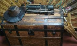 Antique wooden trunk . This trunk is in mint shape.