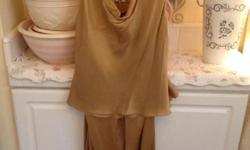 Silk Armani pantsuit in caramel. Top has small spot and pants have small spot. Size: 10.