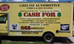 LAKELAND AUTOMOTIVE CORES AND RECYCLING IS BUYING ALTERNATORS STARTERS AC COMPRESSORS RADIATORS WIRE HARNESS CATALYTIC CONVERTORS ALUMINUM WHEELS ENGINES TRANSMISSIONS AND VARIOUS SCRAP METALS FOR RECYCLING.CALL US AT 863-665-5101