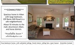 Roomfor Rent Aiken, SC Room in homeavailable. (Shared bath). Great location near multiple equestrian facilities. Safe neighborhood close to downtown, shops and Mall. Sorry no pets but plenty of kisses from pet resident.