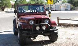 PHYSICAL INJURY PROMOTS THE SELLING OF A CLEAN DAILY DRIVER AUTO. JEEP HAS BEEN BUILT WITH A FRESH SMALL BLOCK CHEVY MOTOR{350}. 4SPEED TRANSMISSION, A NEWER TRANSFER CASE. IT INCLUDES DOUBLE TUBE BUMPERS AND NERF BARS. THE INTERIOR HAS