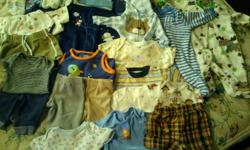 Some used but in great condition. Some are brand new n never worn. There are winter and summertime clothes. Sleepers, hats, socks, and a lot of onesies. Also a stack of baby clothes hangers to go with. My cell # is -- and u can text me. my names melissa.