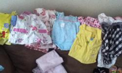 Over 120 pices of baby clothes girl baby clothes 5 pair of shoes and 13 hair bows and a couple blanketsand carseat cover pink Email me at all lowercase kristyreece24@yahoo.com
