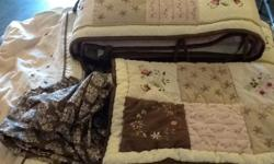Beautiful four piece girls crib set. Includes quilt, bumper pad, crin skirt and sheet. Non-smoking home. Great quality...gorgeous quilt and bumper pad! Extra room decorations available for purchase. Contact jmgrosz@yahoo.com