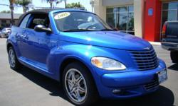 Bring in the Holiday cheer with this beautiful two-door blue convertible 05 PT Cruiser! This little hot rod will melt the snow under its wheel with how smokin' hot it is! Black leather interior, black soft top retractable roof, power windws, power locks,
