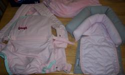 I have a Boppy bouncer $15, 2 pack n plays for $10 each, a pink baby carrier $5, set of 2 baby headrests for the carseat $5, a fuzzy pink changing table cover for $3, a vtech sit to stand walker (pink) $10. 22 bibs that are 4 for $1, pants 4 for $1 and a