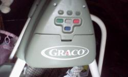 Graco swing, battery operated, 6 speeds, plays a variety of music, excellent condition, suitable for boy or girl (green) $25.00; Bassinet, navy blue outside/cream inside both with safari animal print ($25.00); Bouncer, pink, good condition ($20.00) Will