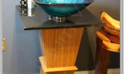"""Natural Solid Bamboo Vanity with 21"""" Wide Black Granite Stone Top and Modern Blue Square Shape Glass Vessel Bathroom Sink. Dimensions: Wood Base: 12 in x 12 in x Height 29.5 in Stone Top : 21 in x 21 in Sink: 16.5"""" Diameter x 5.5"""" High measurements TOTAL:"""