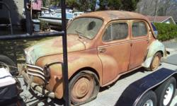 """""""Barn Find"""" 1956 Renault cv-4 for sale The vehicle is 95% complete and has a very solid body with only surface rust. Will need floor pans but supports and members are solid. Pan and additional parts can be found at this link, and are much more available"""