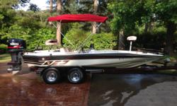 """19' 5"""" Charger bass boat. Garage kept, extremely low hours. 200 hp Yamaha engine. Tilt and trim operated from 3 locations. New batteries. New remote controlled, gps, Minnkota trolling motor. New Hummingbird fish finder, with"""