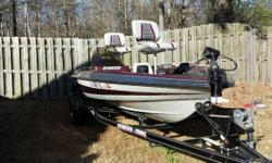 1996 15 ft stratos bass boat with trailer has new tires. Has 50 hp evinrude motor. Has built in battery charger. 2 live wells, 2 fish finders, foot petal trolling motor. 4 seats. crimson and white and silver metallic finish. Great fishing boat easy to