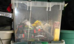 A CHEST FULL OF BASS FISHING LURES! CRANKBAITS TOP WATER, WORMS, ETC.! WHAT A DEAL!!