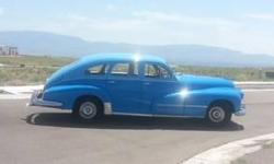 Gorgeous Classic Oldsmobile, 2-tone blue with beige interior. L8 STRAIGHT 8 engine with 4-speed Hydramatic transmission (rare combo). Drives great, tons of NOS parts installed. Gets positive comments from all who seeit.