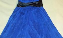 Beautiful Blue & Black Formal Knee High Dress with Black Glitter Flower design throught. Size Small Must be picked up in Paola <ks cash only