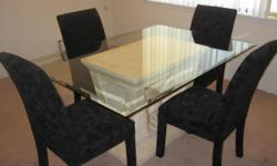 Beautiful Dining room set $120 If YOU TAKE TODAY - $130 (Sacramento) Glass top with stone like base excellent condition. 62x42 4 black velour chairs. no rips or tears. Must Sell $130 or best offer will take $120 If you pick up today!